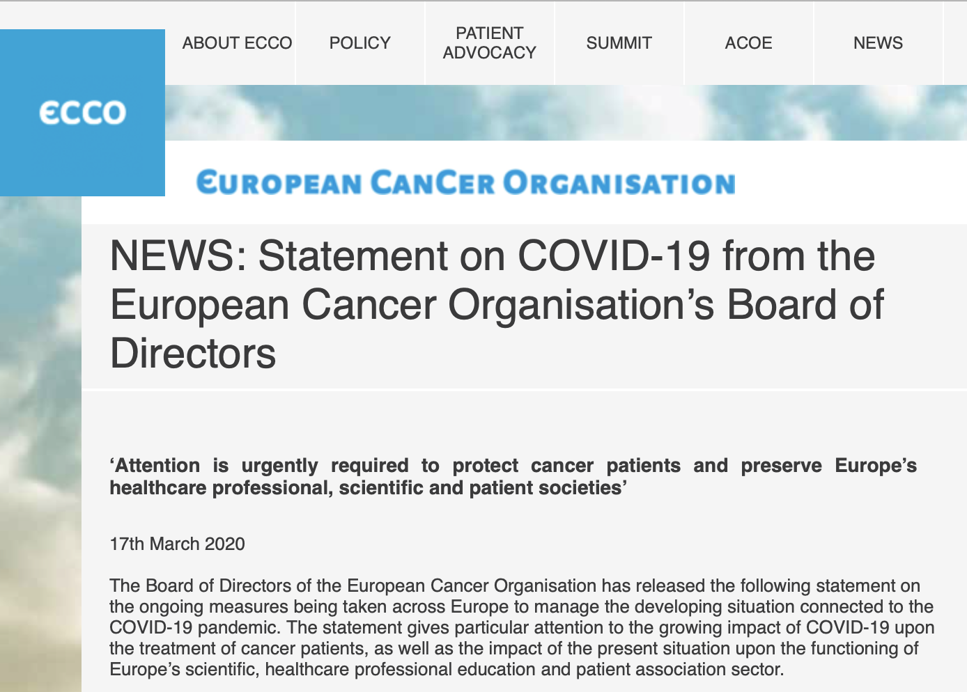 COVID-19: ECCO demands attention to protect cancer patients