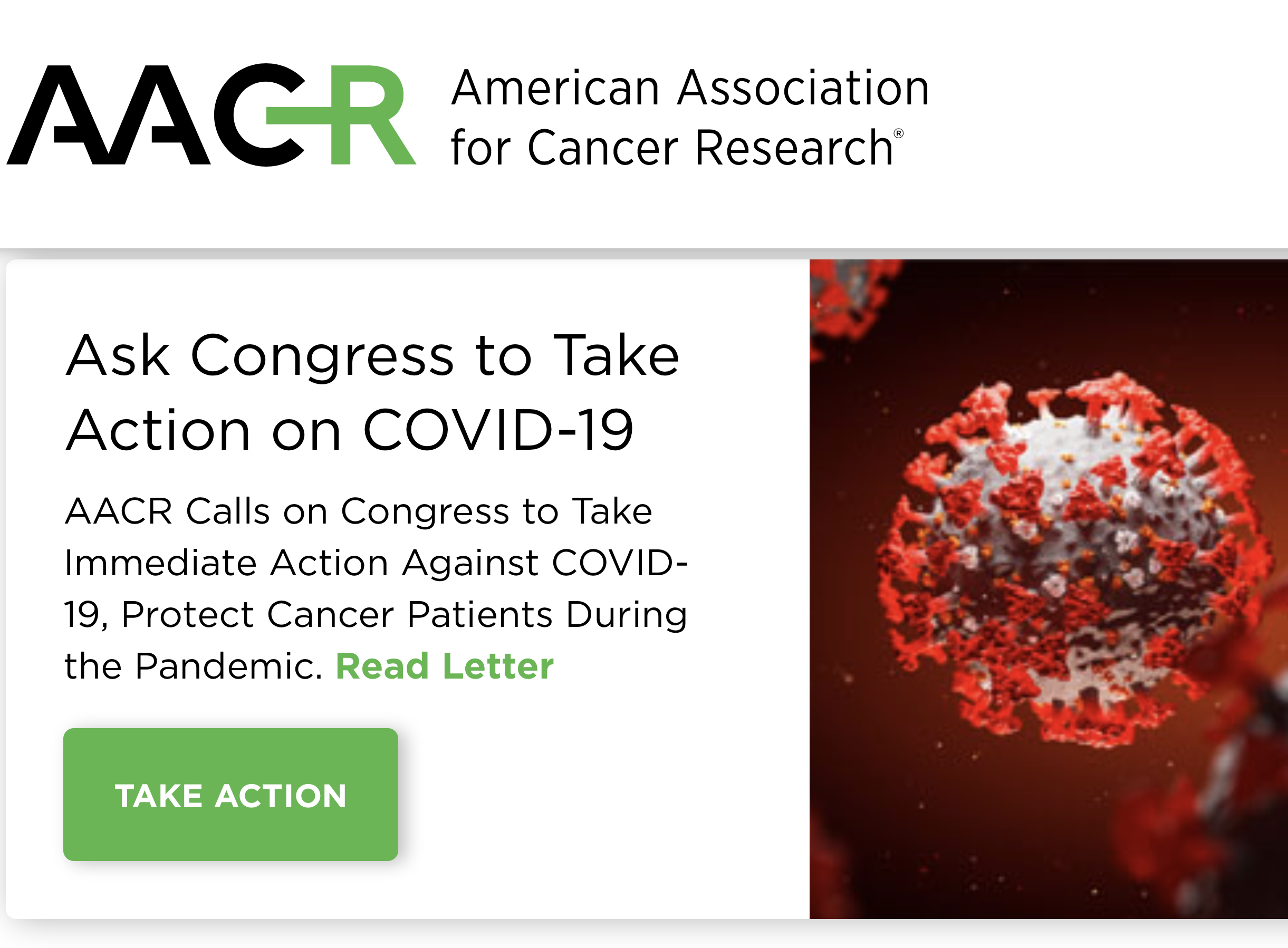 AACR calls on US Congress to take quick action against COVID-19